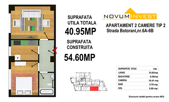 2 camere Tip 2 - Zona 13 Septembrie