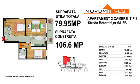 3 Camere Tip 2 - Zona 13 Septembrie