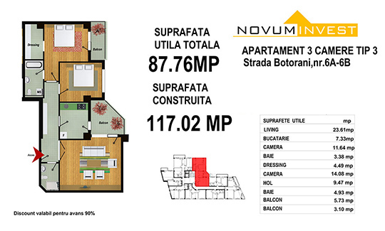 3 Camere Tip 3 - Zona 13 Septembrie